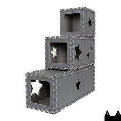 스타캣 퍼즐 캣타워3단 - 터널형(터널3단)다크그레이