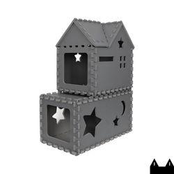 스타캣 퍼즐 캣타워2단 - 터널형 루프형다크그레이