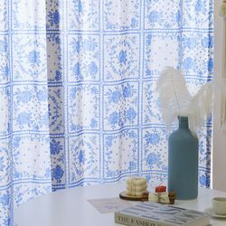 빈티지 블루  플라워 커튼(가로 135cm x 세로151-230cm)-핀-봉집