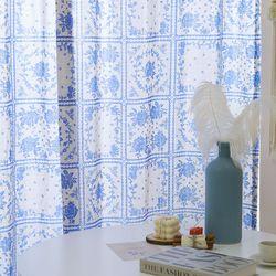 빈티지 블루  플라워 커튼(가로 135cm x 세로231-270cm)-아일렛