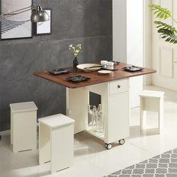 예투가구 엔조 식탁테이블 확장형 접이식 의자2개포함
