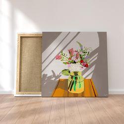 꽃병 캔버스 그림 액자 거실 인테리어(60x60cm)