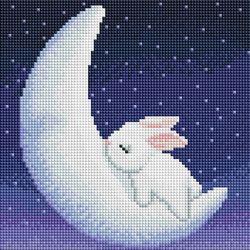 토끼와 달 (캔버스형) 보석십자수 25x25