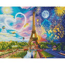에펠탑 하트 (캔버스형) 보석십자수 40x50