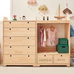 트리홈 소나무 해피하우스 5단서랍장+오픈옷장세트