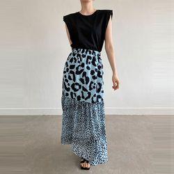 N Leopard Chiffon Long Skirt