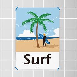 고 서핑4 M 유니크 디자인 포스터 여름 휴가 A3(중형)