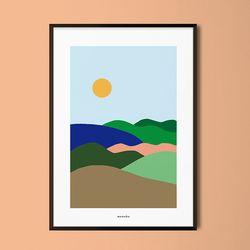 조용한 풍경2 M 유니크 디자인 포스터 회화 A3(중형)