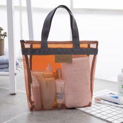 라이프공방 쇼퍼그물백 세면백 목욕가방 세면가방