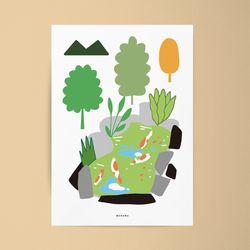 연못자리 M 유니크 인테리어 디자인 포스터 물고기 A3(중형)