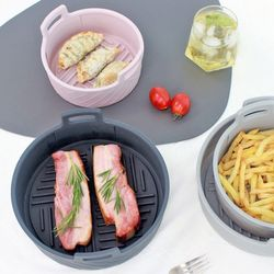 실리콘 에어프라이어 원형 용기 그릇 소1개+대1개