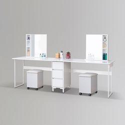 코기 스틸 수납 화장대 2인 거울 + 의자 포함 (착불)