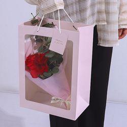투명창 윈도우 꽃다발 꽃 플라워 사각 쇼핑백 L