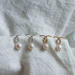 웨이브 담수진주 귀걸이 925 실버침 (2color)