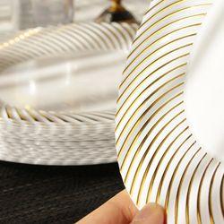 빗살 골드 플라스틱 일회용 접시세트 대 8p + 소 8p 1세트