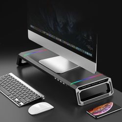 RGB USB 멀티 포트 허브 모니터 받침대 스탠드