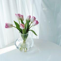 와이드 유리 화병 꽃다발 꽃병 대형 투명 오로라 홀로그램