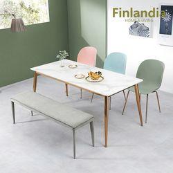 핀란디아 허브 6인 통세라믹 식탁세트(의자3벤치1)
