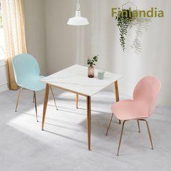 핀란디아 허브 2인 통세라믹 식탁세트(의자2)