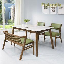 핀란디아 파코 4인 통세라믹 식탁세트(의자2벤치1)