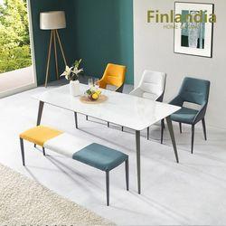 핀란디아 아스타 6인 통세라믹 식탁세트(의자3벤치1)