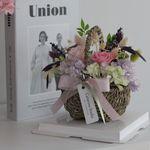시들지않는 프리저브드 핑크스템수국장미 꽃바구니 선물