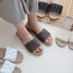 발이 편안한 레이스 실내화 슬리퍼(2size 4color)