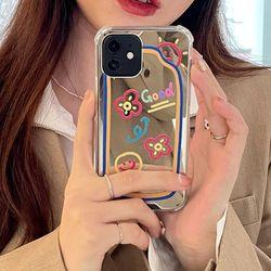 귀여운 낙서 미러 거울 젤리 범퍼 아이폰 케이스 12