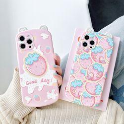 아이폰 12 11 XR SE2 8 동글귀 딸기 실리콘 폰케이스