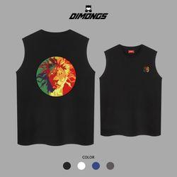 사자 남자 빅사이즈 나시 티셔츠 프린팅 민소매
