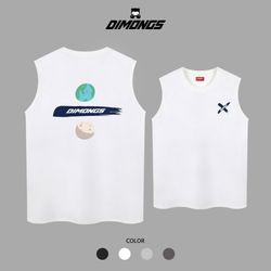 행성나누기 남자 빅사이즈 나시 티셔츠 프린팅