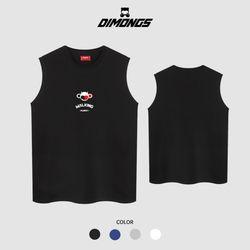 워킹몽키 남자 빅사이즈 나시 티셔츠 프린팅 민소매