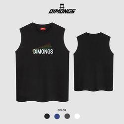 오색블랜 남자 빅사이즈 나시 티셔츠 프린팅 민소매