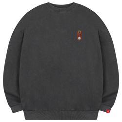 크롭 남자 빅사이즈 피그먼트 맨투맨 프린팅 티셔츠