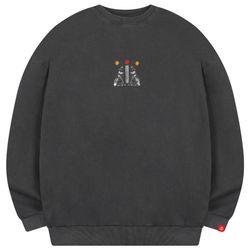 늑대 남자 빅사이즈 피그먼트 맨투맨 프린팅 티셔츠
