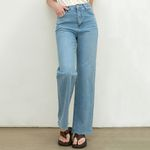 STRAIGHT CUT OFF JEANS [BLUE]