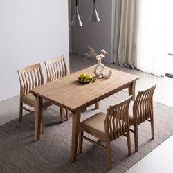 하온 원목 고무나무 4인용식탁 의자 식탁 세트