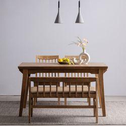 하온 원목 고무나무 4인용식탁 벤치 식탁 세트