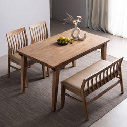 하온 원목 고무나무 6인용식탁 벤치 식탁 세트