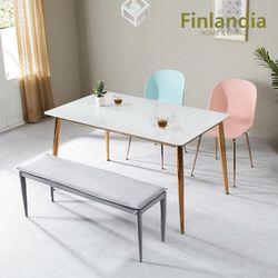 핀란디아 허브 4인 통세라믹 식탁세트(의자2벤치1)