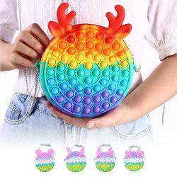 귀여운 동물귀 푸쉬팝 팝잇 버블 체인 스트랩 폰가방