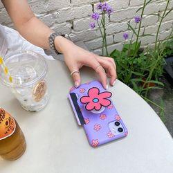 (카드포켓) 보라꽃 패턴