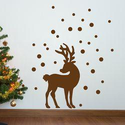 눈내리는 겨울 속 사슴 감성 인테리어 스티커