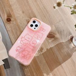 아이폰12 PRO 11 X 8 SE2 핑크곰돌이 실리콘 폰케이스