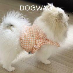 체크 프릴 크롭탑 강아지 민소매 여름 옷
