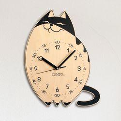 고양이 어린이 감성 무소음 교육용 벽시계 냥이