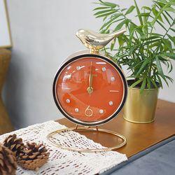 골드새 링 받침 탁상시계 (오렌지)