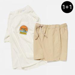 뉴욕 몬탁 반팔 티셔츠 + 피셔맨 코튼 밴딩 숏팬츠