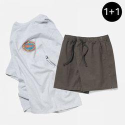캐치앤릴리즈 반팔 티셔츠 + 피셔맨 코튼 밴딩 숏팬츠