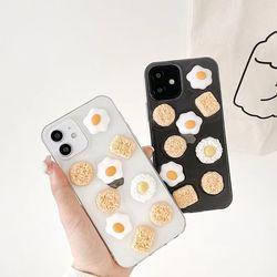 아이폰12 11 XR SE2 8 계란 라면 투명 클리어 케이스